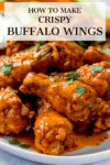 Buffalo chicken wings with text overlay