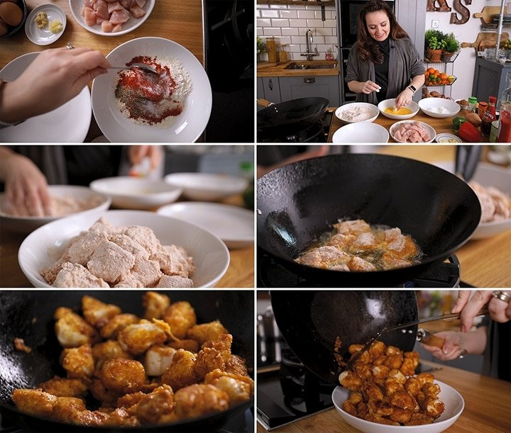 Collage showing steps for making crispy chicken for sweet and sour chicken