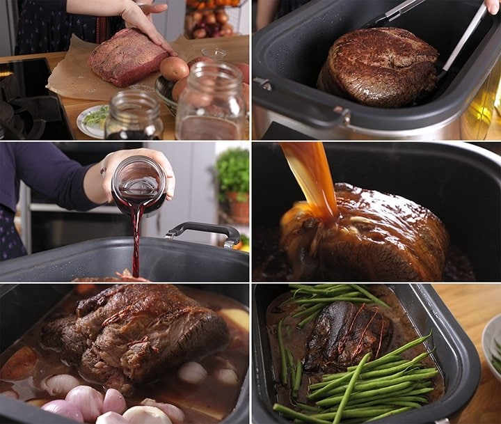 6 image collage showing how to make pot roast beef in the slow cooker