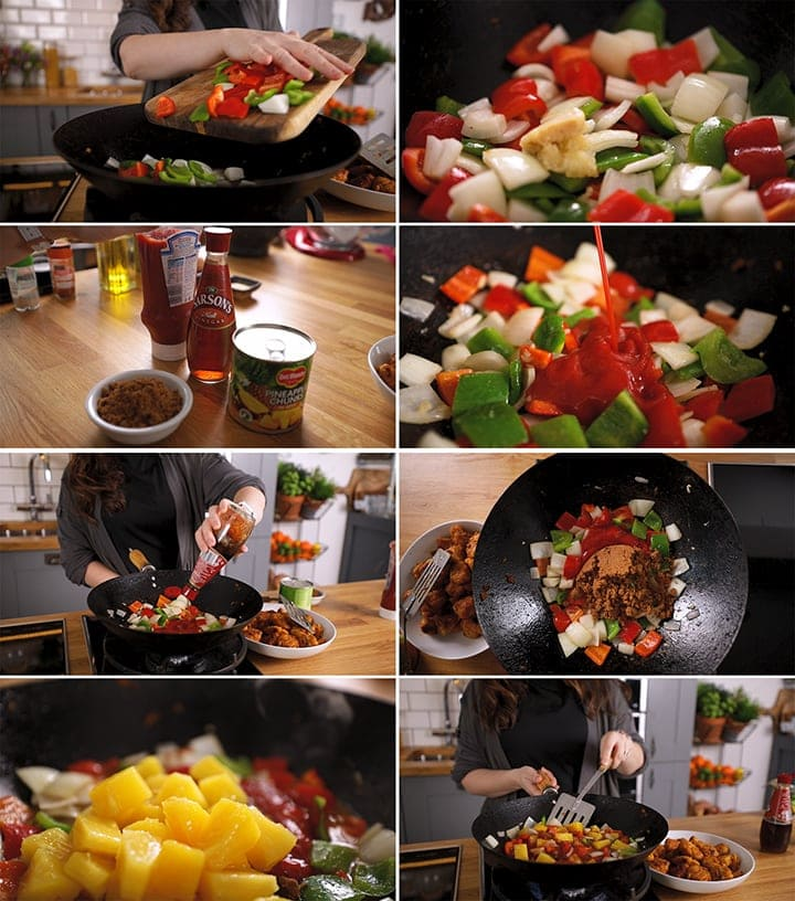 Collage of steps fro making sweet and sour chicken