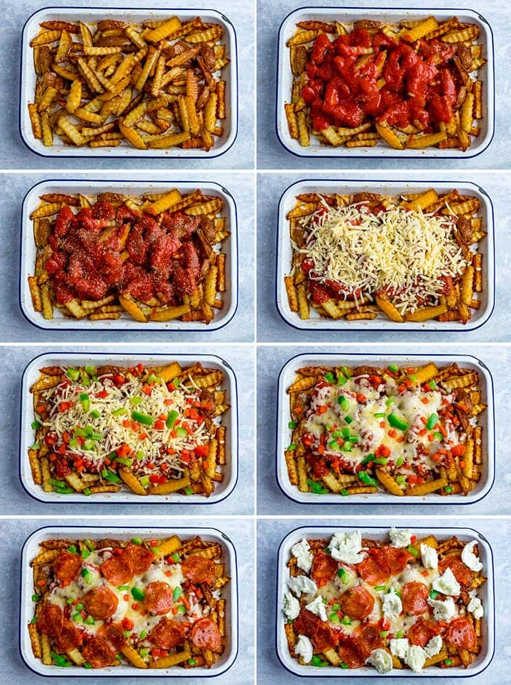 8 image collage of steps to make pizza fries