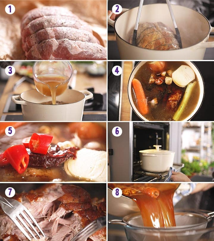 8 image collage showing initial steps for making slow cooked pork ramen