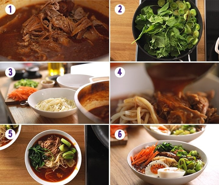 6 image collage showing final steps for making slow cooked pork ramen
