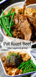 Two image collage of pot roast beef with vegetables and gravy