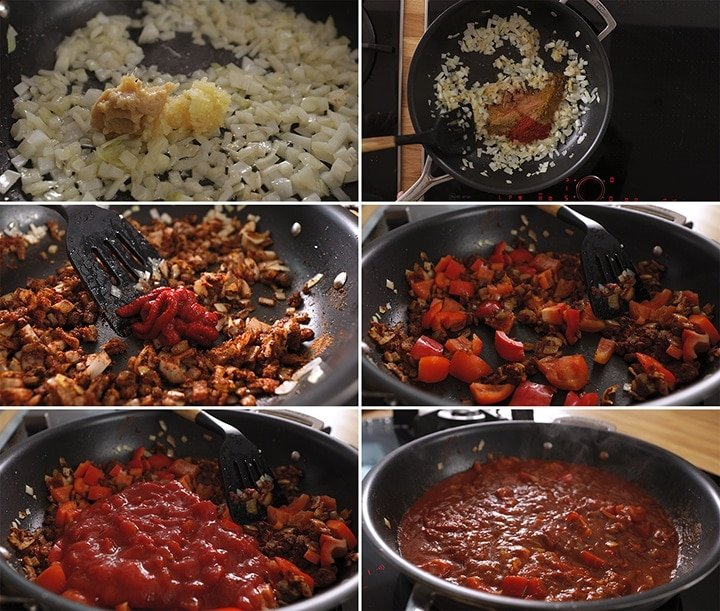 6 image collage showing initial steps of making masala sauce for chicken tikka masala