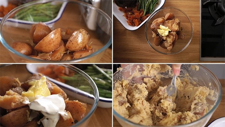 4 photo collage showing making of rustic mashed potato