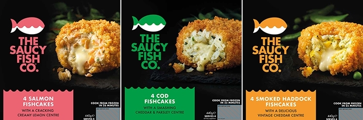 3 image collage of different types of Saucy Fish Co fish cakes