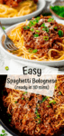Two image collage of spaghetti bolognese on a white plate and in the pan.