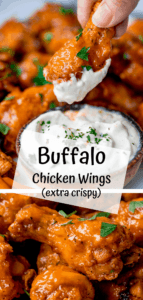 Buffalo chicken wings collage with text