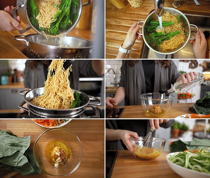 6 image collage showing prep to make noodle salad with miso dressing
