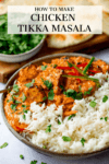 Chicken tikka masala in a bowl, text overlay on the image