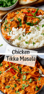 Two image collage of chicken tikka masala