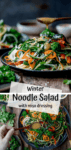 Two image collage of winter noodle salad on dark background