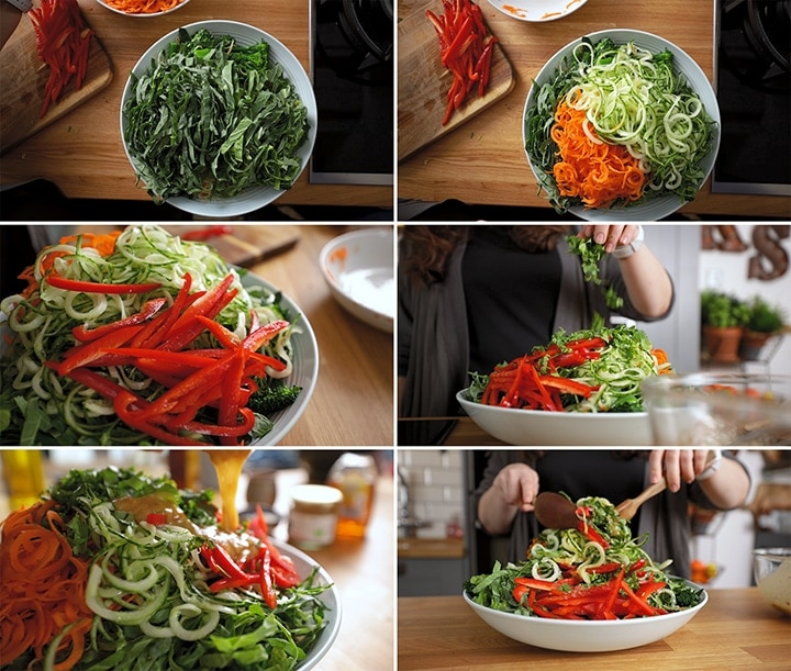 6 image collage showing assembly steps of winter noodle salad