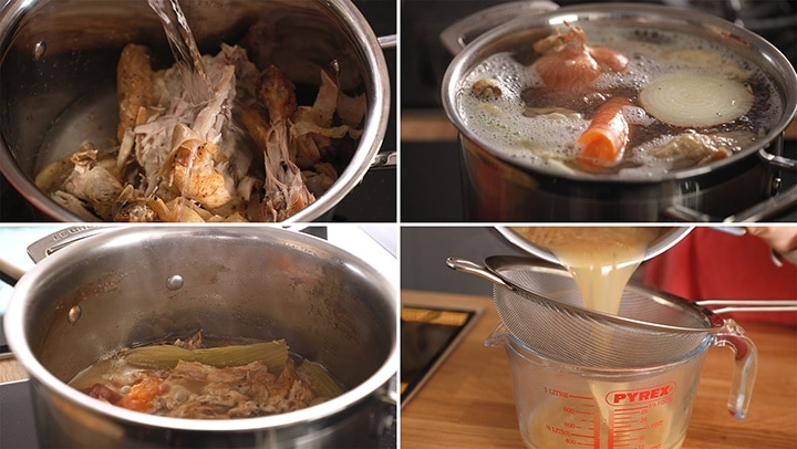 4 image collage showing how to make chicken stock