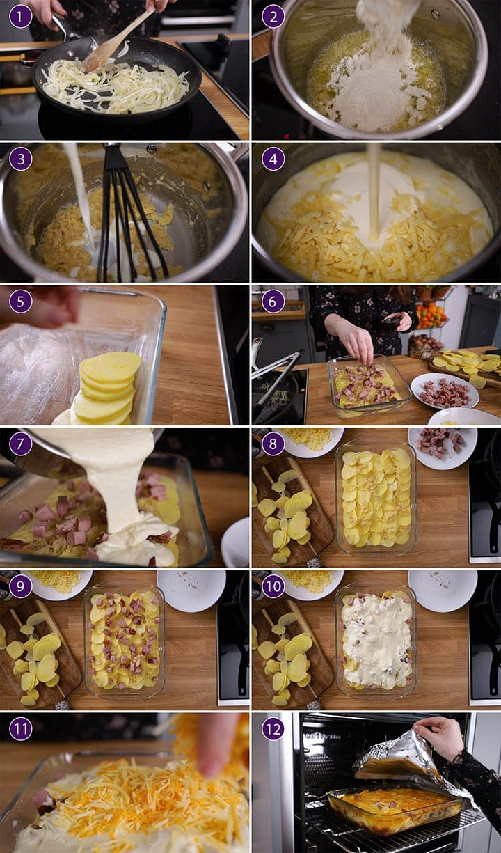 12 photo collage showing how to make scalloped potatoes with ham