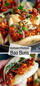 2 image collage of Mini Korean chicken bao buns with text overlay