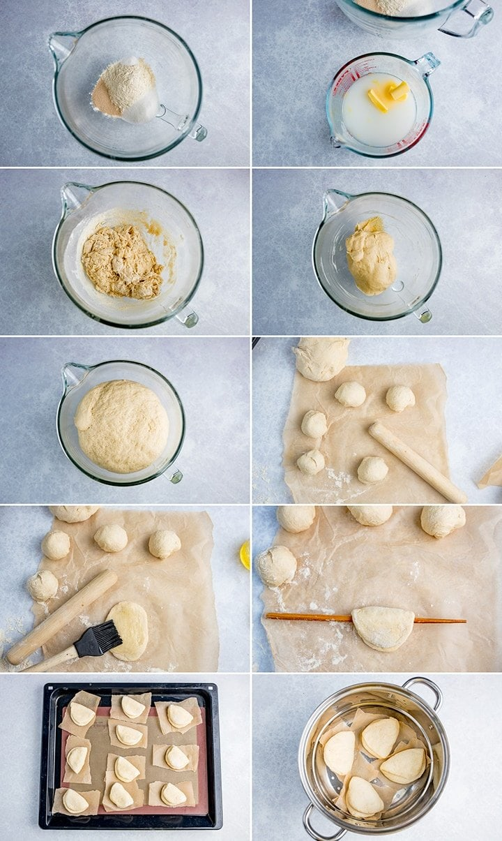 10 image collage showing how to make mini bao buns