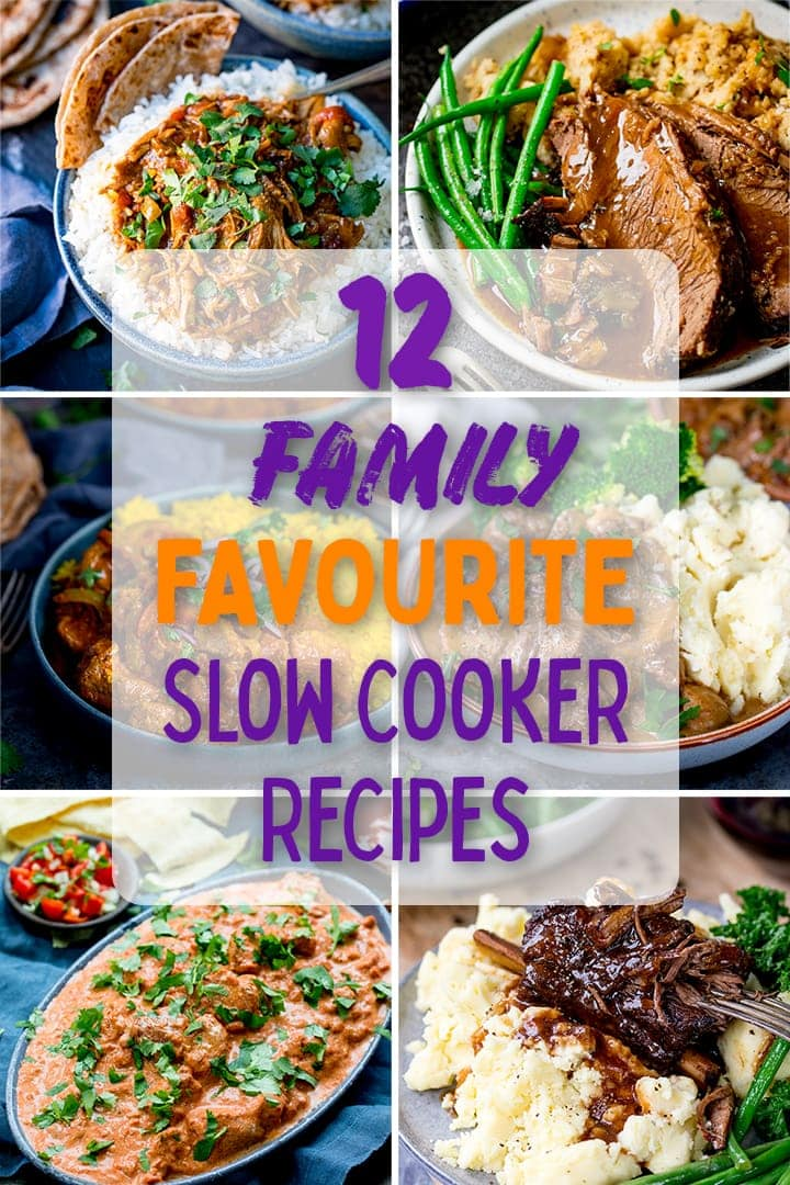 Collage of pictures of slow cooker recipes