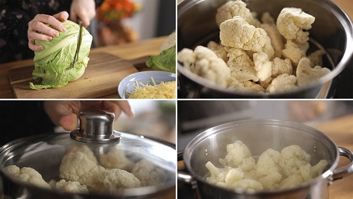 4 image collage showing how to steam cauliflower