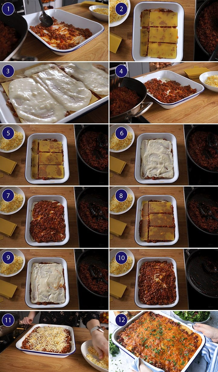 12 image collage of steps to assemble lasagne