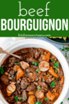 White dish filled with beef bourguignon