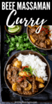 Beef massaman curry with rice in a dark bowl