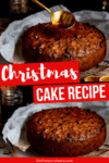 Two image collage of christmas fruit cake
