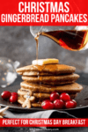 Pile of gingerbread pancakes with syrup being poured on