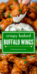 Two image collage of buffalo wings piled up