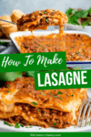 Two image collage of lasagne