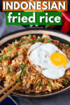 Indonesian fried rice with fried egg on top
