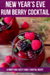 Overhead image of rum berry cocktail on wooden background