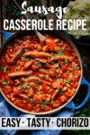 Sausage casserole in a blue pan with text overlay