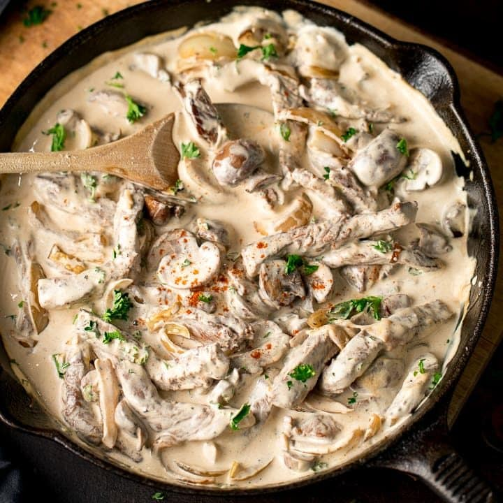 Beef stroganoff in a cast iron pan