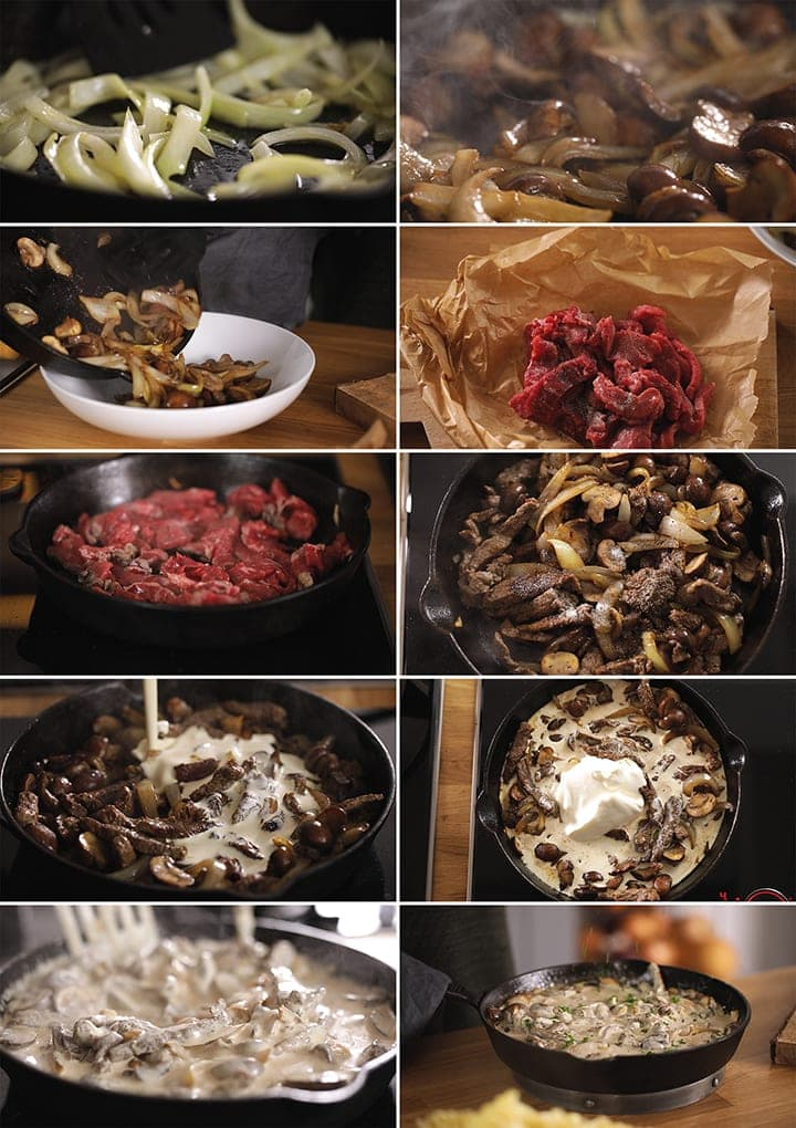 10 collage d'images montrant comment faire du bœuf Stroganoff