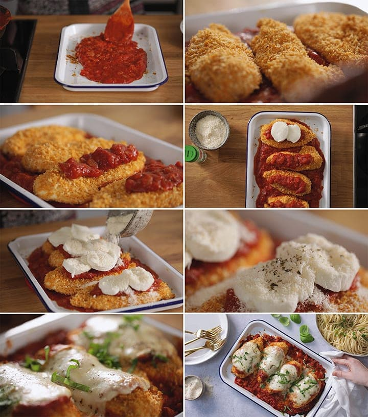 8 image collage showing final steps for making chicken parmesan