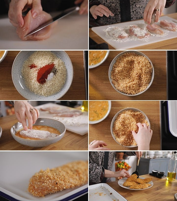 8 image collage showing how to make crispy coated baked chicken