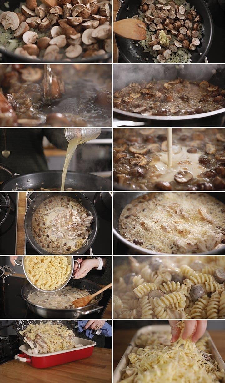12 image collage showing how to make chicken alfredo pasta bake