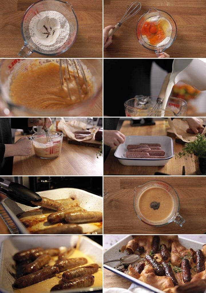 10 image collage showing how to make toad in the hole