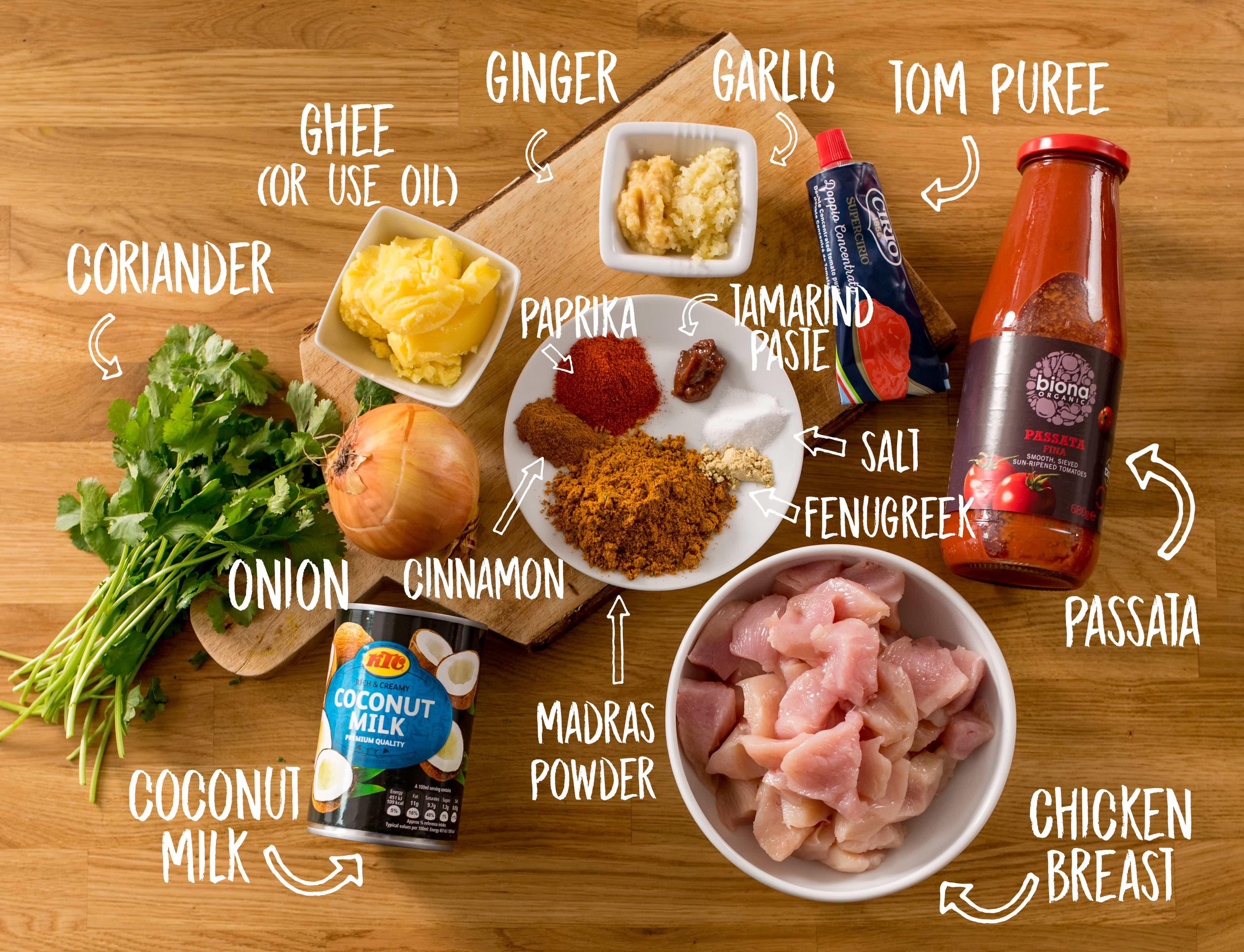 Ingredients for Chicken Madras on a wooden table