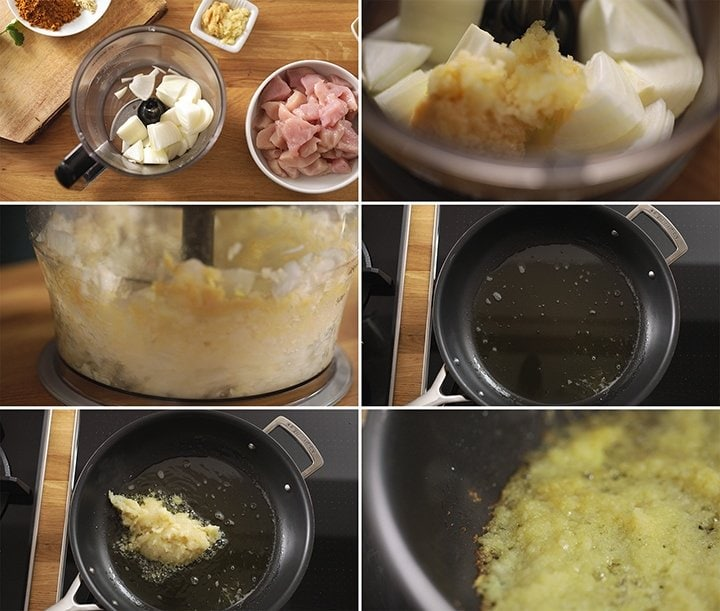 6 image collage showing how to prep the onion paste for chicken madras