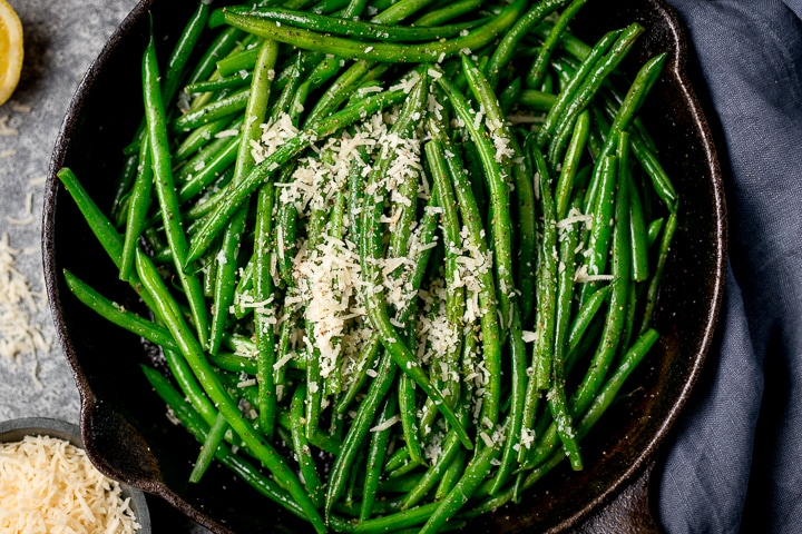 Overhead image of green beans in a pan