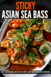 Asian-style sea bass fillets on a baking tray with spring onion and chilli toppings