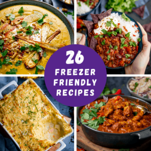 4 photos of food with a circle and words reading 26 freezer friendly recipes