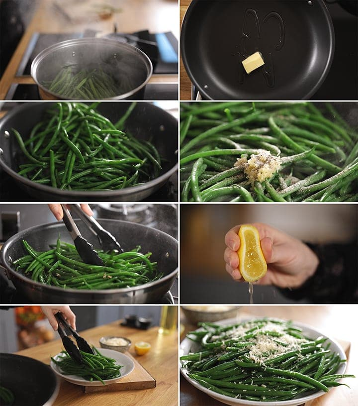 8 image collage showing how to make garlic green beans with parmesan
