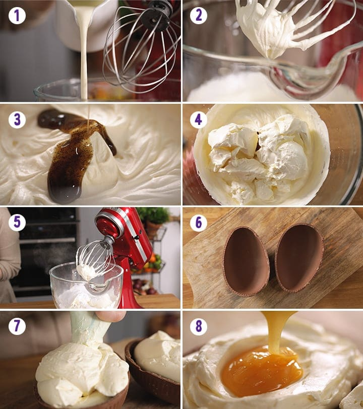 8 image collage showing how to make giant creme egg cheesecake dip