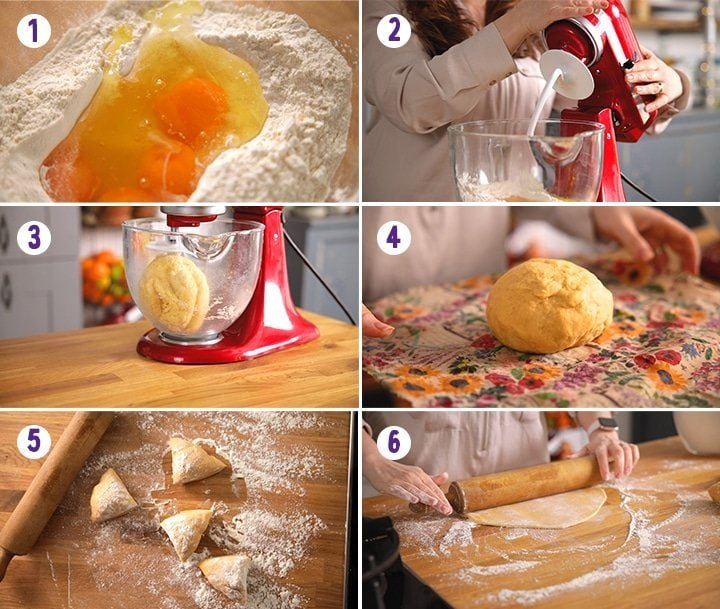 6 image collage showing how to make homemade pasta