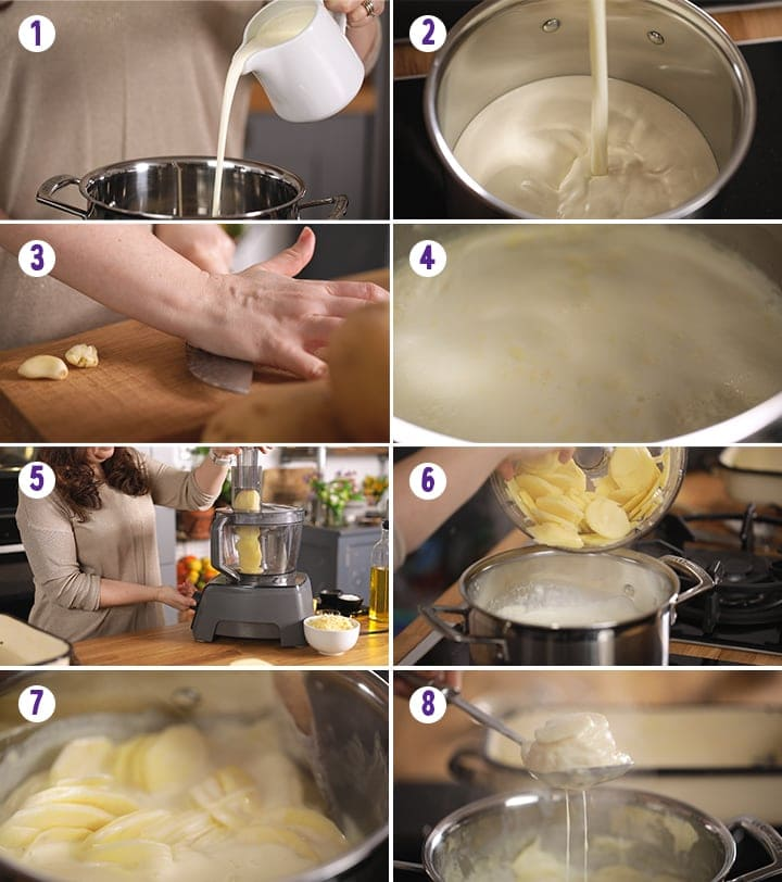 8 image collage showing initial steps for making dauphinoise potatoes