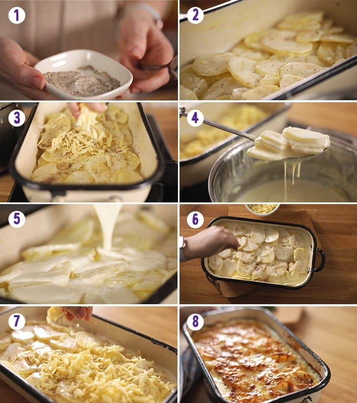 8 image collage showing steps for assembling dauphinoise potatoes